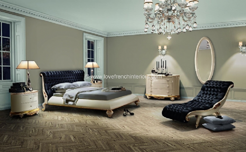 Venezia Bedroom Collection in Black Velvet